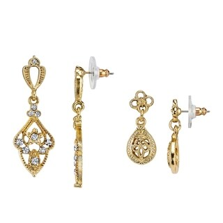 1928 Jewelry Boxed Gold Tone Filigree and Crystal Drop Earrings Set
