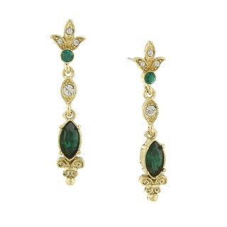 1928 Jewelry Gold Tone Belle Epoch with Navette Shaped Emerald Color Stone Drop Earrings