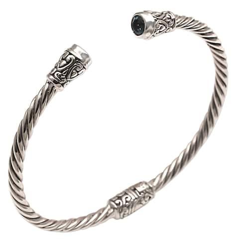 Handmade Sterling Silver Spiral Temple Blue Topaz Bracelet (Indonesia)