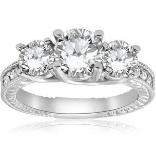 Bliss 14K White Gold 2 1/2 ct TDW Diamond Clarity Enhanced Three Stone Vintage Engagement Ring (G-H/SI2-I1) - White G-H