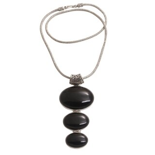 Handmade Sterling Silver 'Night Ovals' Onyx Necklace (Indonesia)