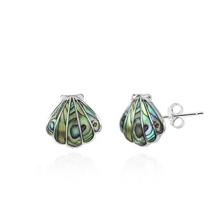 Glitzy Rocks Seashell Abalone or Simulated Turquoise Stud Earrings in Sterling Silver