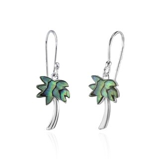 Glitzy Rocks Palm Tree Abalone or Simulated Turquoise Dangle Earrings in Polished Sterling Silver