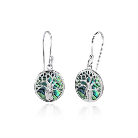 Glitzy Rocks Tree of Life Abalone or Simulated Turquoise Dangle Earrings in Polished Sterling Silver
