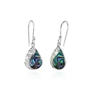 Glitzy Rocks Filigree Teardrop Abalone or Simulated Turquoise Dangle Earrings in Polished Sterling Silver