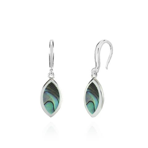 Glitzy Rocks Marquise Abalone or Simulated Turquoise Dangle Earrings in Polished Sterling Silver