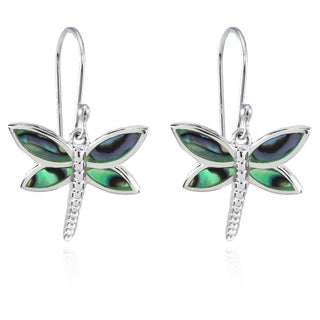 Glitzy Rocks Dragonfly Abalone or Simulated Turquoise Dangle Earrings in Polished Sterling Silver