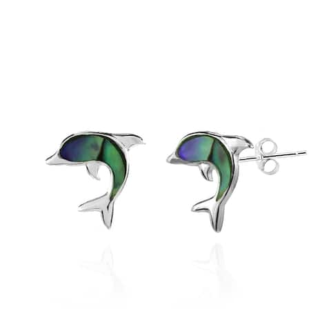 Glitzy Rocks Dolphin Animal Abalone or Simulated Turquoise Stud Earrings in Sterling Silver