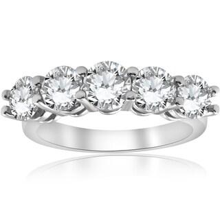 Bliss 14k White Gold 3 ct TDW Five Stone Womens Wedding Ring (I-J/I2-I3) - White I-J
