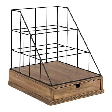 Carbon Loft Richter Metal and Wood Letter Tray Desk Organizer