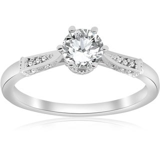 Bliss 14K White Gold 5/8 ct TDW Diamond Clarity Enhanced Vintage Engagement Ring (G-H/SI1-SI2)