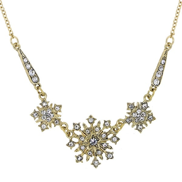 c09181d9bfba Shop Downton Abbey Gold Tone Crystal Belle Epoch Starburst Statement  Necklace 16in Adj. - Free Shipping On Orders Over  45 - Overstock.com -  19576641
