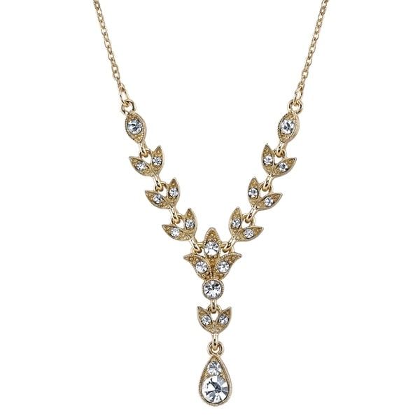 9a0a056f28c9 Shop Downton Abbey Gold Tone Crystal Y Necklace 16 Adj. - Free Shipping On  Orders Over  45 - Overstock.com - 19576644