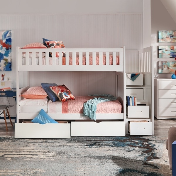 Shop Hunter Twin Over Twin White Wood Storage Staircase Bunk Bed By