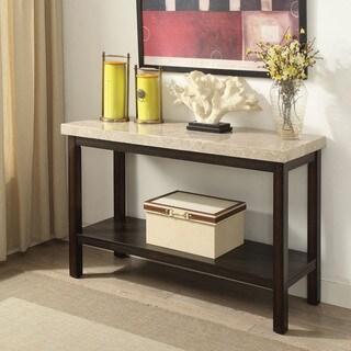 Furniture of America Della Transitional Dark Walnut Marble Sofa Table