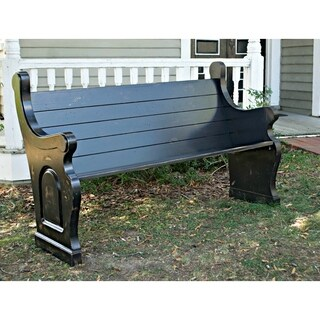 Antique Black Solid Oak Slatted Back Indoor/Outdoor Pew With Waterfall Ends