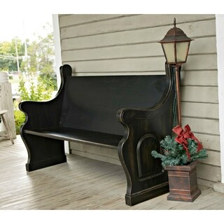 Antique Black Oak Wood Pew With Waterfall Ends