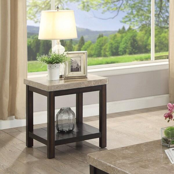 Furniture of America Della Transitional Dark Walnut End Table