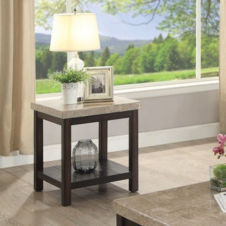 Furniture Of America Della Transitional Dark Walnut Genuine Marble End Table