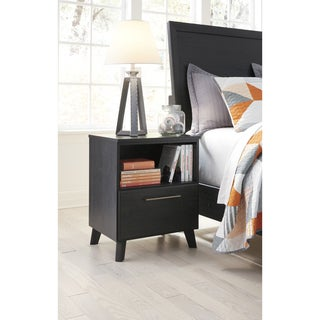 Daltori Black 1-drawer Nightstand