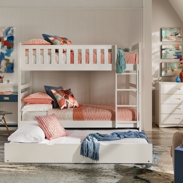 Shop Hunter Twin Over Twin White Wood Bunk Bed By Inspire Q Junior
