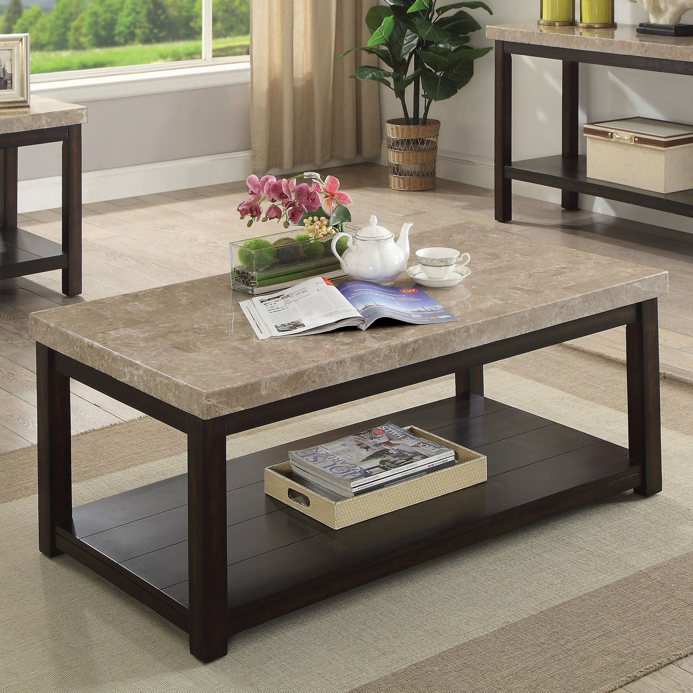 Copper Grove Angelina Transitional Dark Walnut Coffee Table