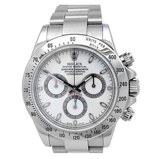 Pre-owned 40mm Rolex Stainless Steel Oyster Perpetual Daytona Cosmograph Watch. White Dial