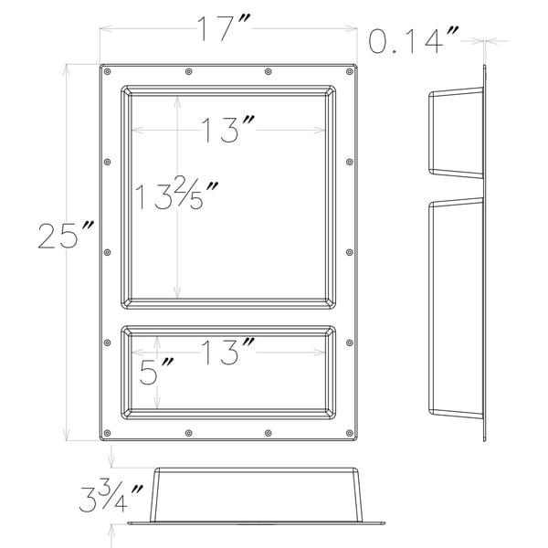 Ready For Tile Leak Proof 17\/' X 25\/' Rectangular Bathroom Recessed Shower For