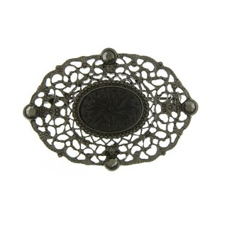 Downton Abbey Black Tone Belle Epoch Oval Filigree Bar Pin with Black Carved Center Stone