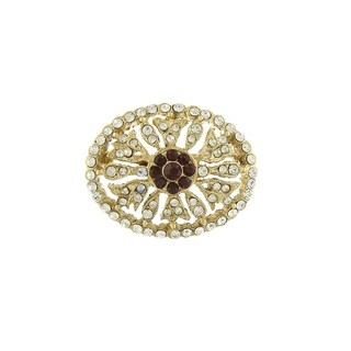 Downton Abbey Gold Tone Crystal Edwardian Pave Oval Pin with Red Center Stones