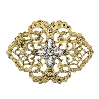 Downton Abbey Gold Tone Belle Epoch Filigree with Pave Crystal Stone Cluster Bar Pin