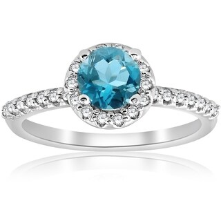 Bliss 14K White Gold 7/8 ct TDW Diamond Halo Blue Topaz Engagement Anniversary Ring