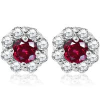 Bliss 14k White Gold 2 1/2 ct TDW Diamond Halo Ruby Studs Womens Earrings - Red