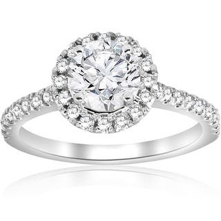 Bliss 14K White Gold 1 Ct TDW Diamond Clarity Enhanced Halo Engagement Ring G H