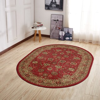 Ottomanson Ottohome Traditional Persian Oriental Design Oval Area Rug Red (5' X 7') - 5' x 6'6""