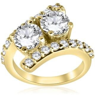 Bliss 14K Yellow Gold 3 7/8 ct TDW Diamond Clarity Enhanced Two Stone Engagement Anniversary Ring (G-H/I1-I2) - White