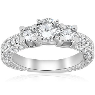 Bliss 14K White Gold 2 ct TDW Diamond Clarity Enhanced Three Stone Vintage Engagement Ring (G-H/SI1-SI2)