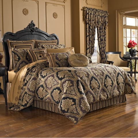Five Queens Court Reilly Woven Chenille Damask 4 Piece Comforter Set