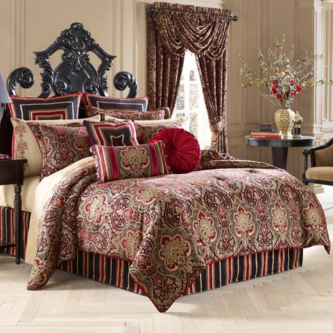 Five Queens Court Remington Woven Chenille Damask 4 Piece Comforter Set