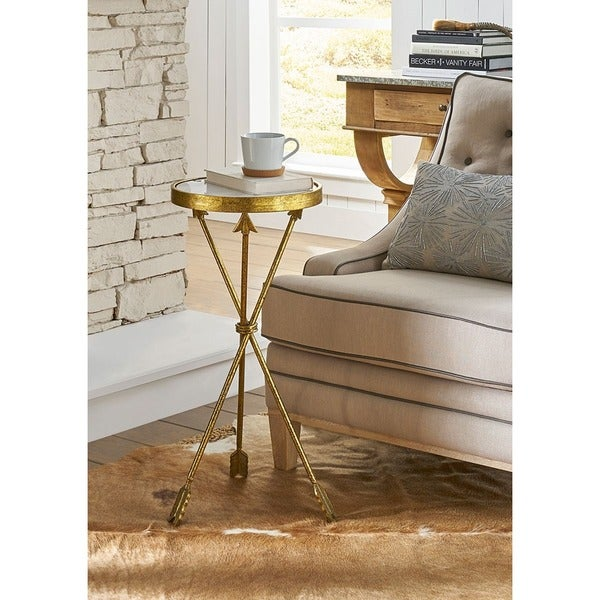Urban Designs Antiqued Gold Leaf Arrow 30 Inch Round Marble Side Table