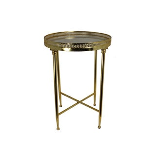 Urban Designs Satin Gold 25-Inch Metal And Marble Top Round Accent Table