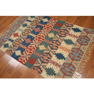 Traditional Reversible Southwestern Turkish Tribal Dhurrie Kilim Flat-weave Area Rug (4' x 6')