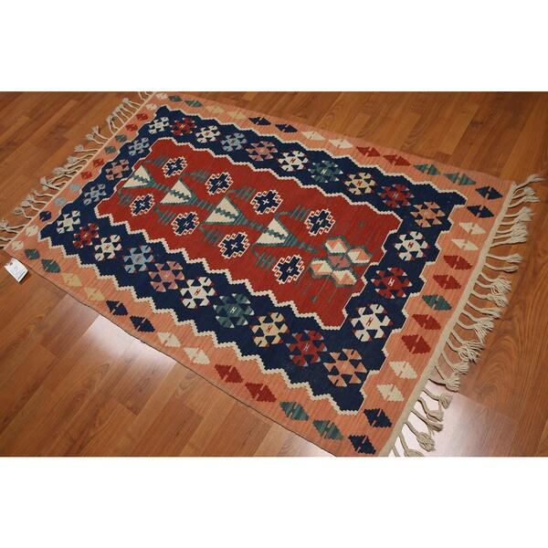 Turkish Tribal Dhurrie Kilim Multicolored Pure Wool Flat Woven Reversible Area Rug 4
