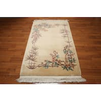 Chinese Art Deco Multicolored Wool Full Pile French Aubusson Area Rug - 4' x 6'