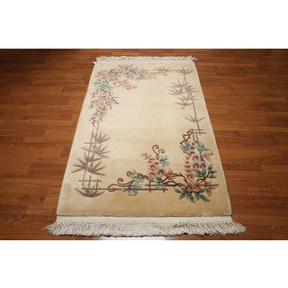 Chinese Art Deco Multicolored Wool Full Pile French Aubusson Area Rug (4' x 6')
