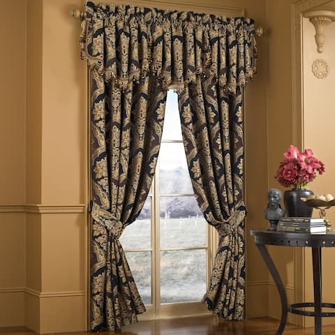 """Five Queens Court Reilly Woven Chenille Damask Luxury Curtain Panel Pair - 50"""" w x 84"""" l"""