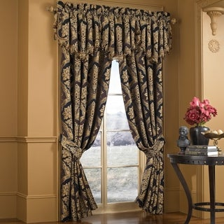 Five Queens Court Reilly Woven Chenille Damask Luxury Window Panel Pair