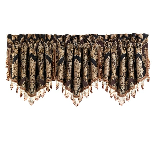 Five Queens Court Reilly Ascot Window Valance with Crystal Tassel Fringe. Opens flyout.
