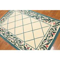 Pure Wool Thick Pile French Aubusson Savonairre Area Rug - 4'x6'