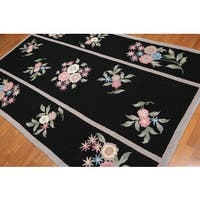 "Pure Wool Tri Panel Floral Oriental Area Rug - 8'5""x5'6"""